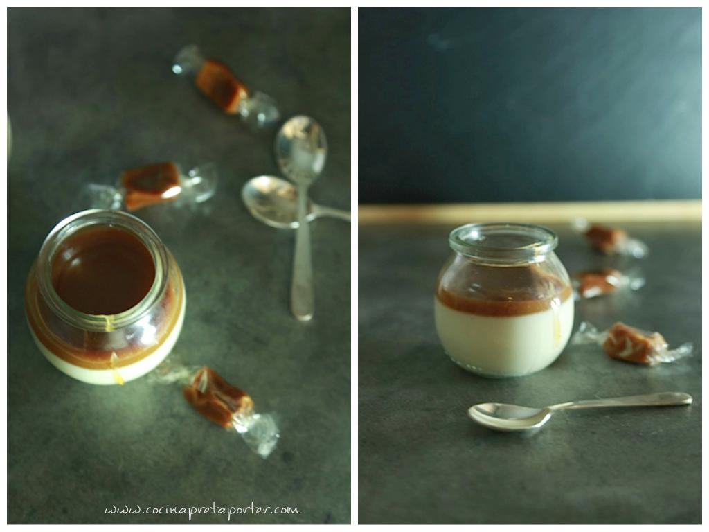 Panna Cotta a la vainilla con coulis de caramelo de beurre salé-collage