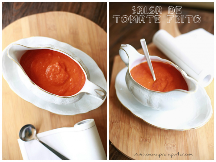 Salsa de tomate frito-collage