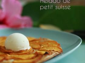 Tarta extrafina de melocotón y helado de petit suisse